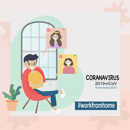Coronavirus COVID-19 concept, Stay at home. Men and women are working together by online video to reduce the risk of getting infected with the Covid-19 virus.
