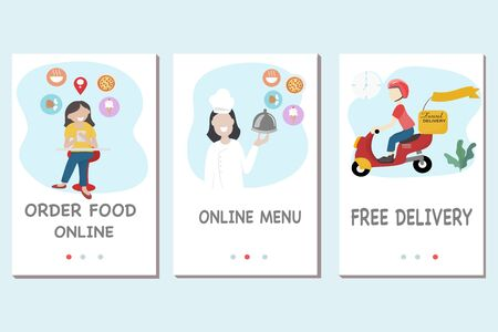 Fast food delivery service concept - Food delivery man is riding a red scooter to deliver food during the Covid virus epidemic. Free delivery by motorbike. Vector flat design illustration. Ilustrace