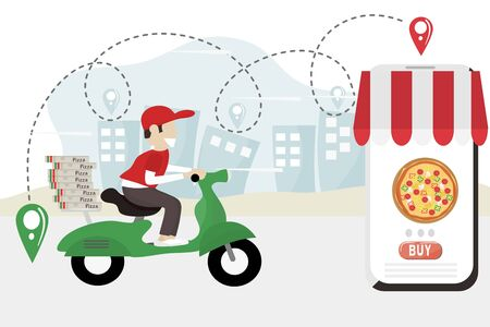 Fast food delivery service concept - Pizza delivery man is riding a green scooter to deliver food during the Covid virus epidemic. Free delivery by motorbike. Vector flat design illustration. Ilustrace