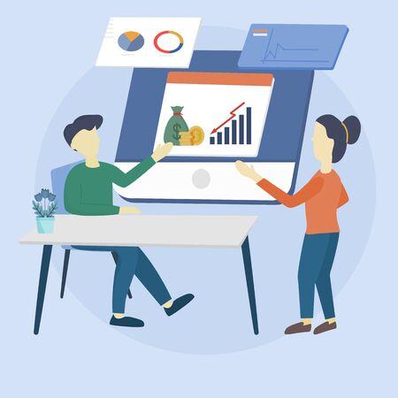 Flat design concept of meeting - Group of businessman with a time management plan apps work teamwork conference. Vector illustration for website banner, marketing material, business presentation. Ilustrace