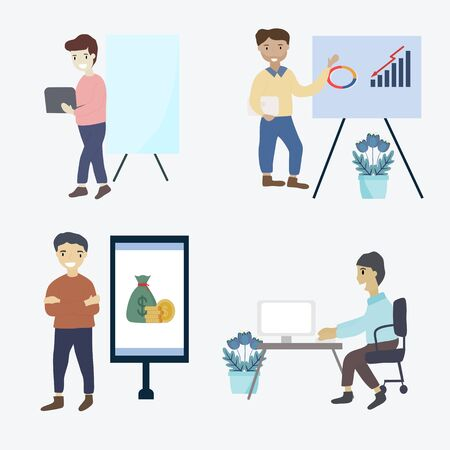 Businessman concept - Group of business people that are successful in working in the office effectively. Businessman with presentations and arrangements. Flat vector illustration. Ilustrace