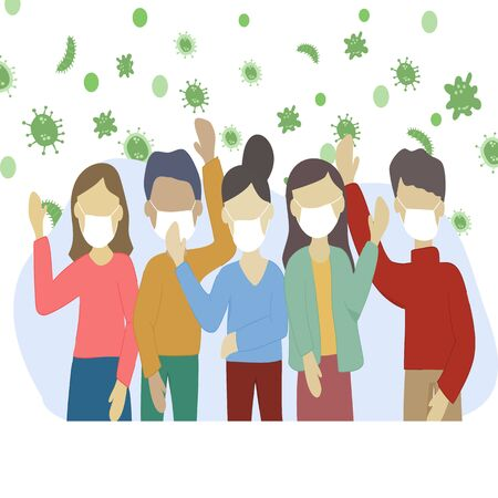 Covid-19 Coronavirus concept - Group of men and women wearing medical masks and hands up at the same time to show that they are infected with the virus. Dangerous virus. vector illustration.
