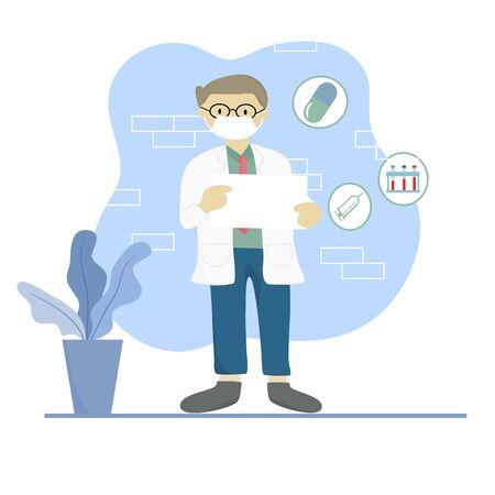 Portrait of a male doctor with lab coat in his office holding a white paper. Doctor shows an empty board to write a personal message or advice for treating patients. Vector illustration.