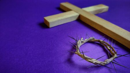 Lent Season,Holy Week and Good Friday concepts - image of crown of thorns in purple vintage background