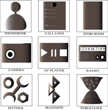It is photo of nine mobile icon collection Stock Vector - 13197102