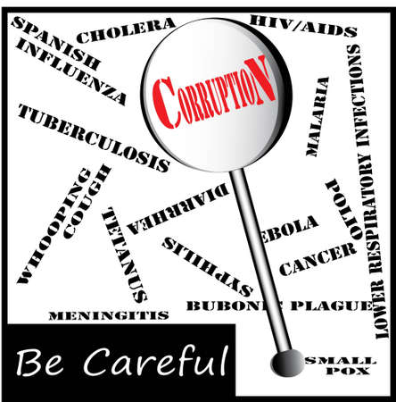 It is a picture of a special lens, which highlights corruption, among several deadly diseases. it can be used as a awareness related advertisement to remove corruption from world. Stock Vector - 13197107