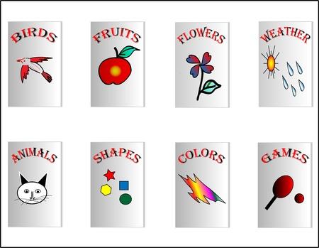 C'est photo d'une certaine page de couverture de livres d'enfants, d'cr��es dans Illustrator animaux, fruits, fleurs, oiseaux, jeux, couleurs, formes sont ces six pages de couverture affich�es ici
