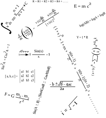 cos: It is a photo of collection of some mathematical and physics formulas Illustration