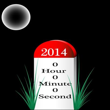 C'est la photo de Happy Ann�e 2014 Nouvelle �tape, indiquant que 0 heure 0 minute et 0 secondes sont toujours d'entrer dans 2014, cr�� dans Illustrator CS5 Il ya des couches individuelles sont cr��s pour chaque composant pour une utilisation facile et autre modification