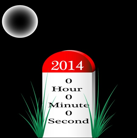 This is the photo of Happy New Year 2014 milestone, indicating that 0 hour 0 minute and 0 second are remain to enter 2014, created in illustrator cs5  There are individual layer are created for each component for easy use and further modification Stock Vector - 18457492