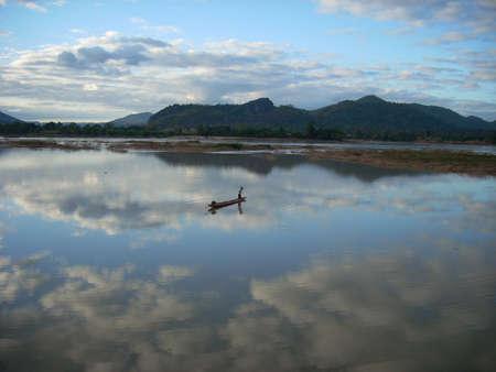 khong river: Khong river and fisherman