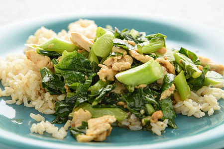 fried rice: Fried Chinese kale With oyster sauce and chicken on brown rice