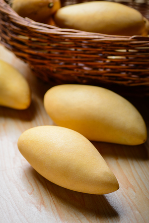 Yellow mangoes in the basket