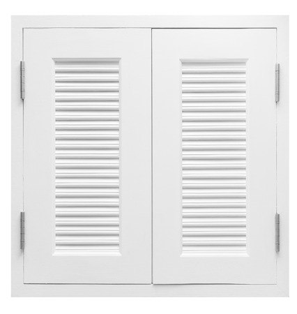White wooden window isolated on white background