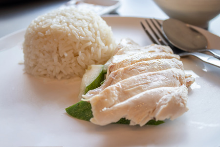 Hainanese chicken rice, Steamed chicken with rice.