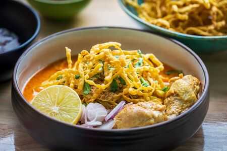 Khao Soi Kai, Northern Thai Noodle Curry Soup with Chicken