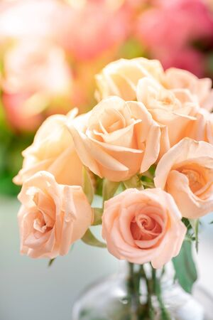 Close up of orange rose bouquet in the vase Stockfoto