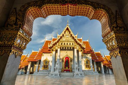 The Marble Temple or Wat Benchamabopitr Dusitvanaram in Bangkok Thailand in the evening