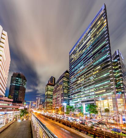 Bangkok, Thailand- June12, 2019 : City scape of Bangkok in the evening at BTS skywalk at Chong Nonsi skytrain station