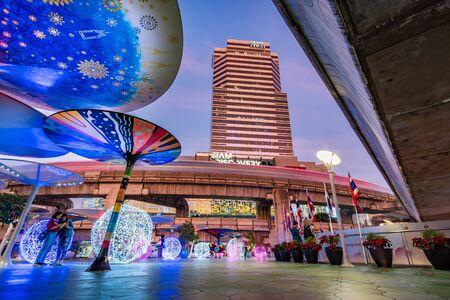 Bangkok, Thailand-January 2, 2020: Lighting of Siam Discovery Shopping Center, famous shopping mall in Bangkok, Thailand at twilight.