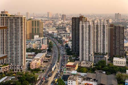 Bangkok, Thailand-February 20, 2020: Aerial view of condominiums and skyscrapers in Bangkok Thailand