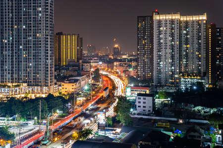 Bangkok, Thailand-February 20, 2020: Cityscape of Bangkok, Thailand at night
