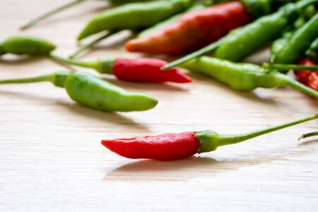 close up of red and green chilli