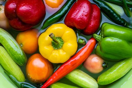 Many colorful vegetables washed in water