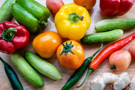 Close up of colorful fresh vegetables
