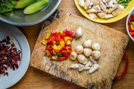 top view of food ingradients on wood background