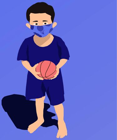 Boy with masks to maintain health while playing. Vector illustrator