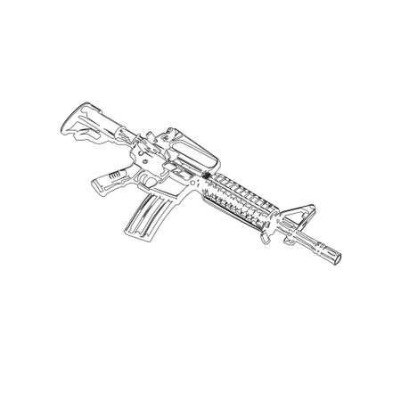 Illustration Vector graphic of assault rifle design Vektoros illusztráció