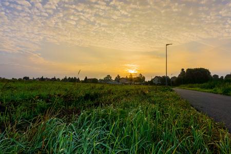 falkensee: Sunrise over a wet field