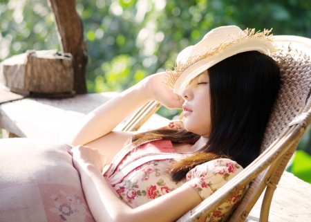 resting: Asian beautiful girl sleep Stock Photo
