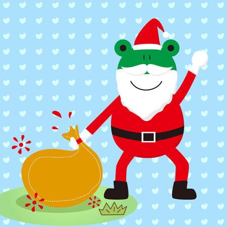The frog Christmas grandpa Vector