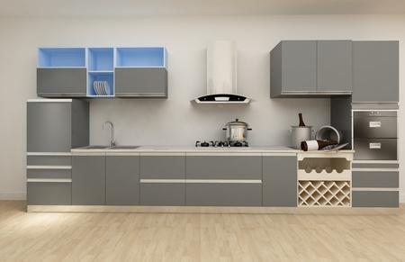 refrigerator: A Clean White Modern Kitchen(3D)