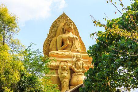 rayong: Buddha statue at wat Thammaros, rayong, thailand. Stock Photo