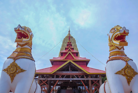 Twin Lion statue At Stupa in Bodh Gaya Sangkhla Buri District kanchanaburi thailand