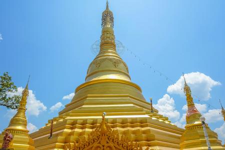 Goldden pagoda in myanmar,Myanmar Three pagoda pass border Stock Photo