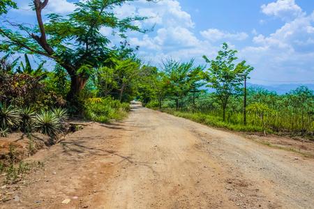 Countryside Road in myanmar,Fresh weather in countryside myanmar