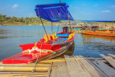 Long-tail boat on Songgaria river Sangkhla Buri District kanchanaburi thailand,Unseen thailand