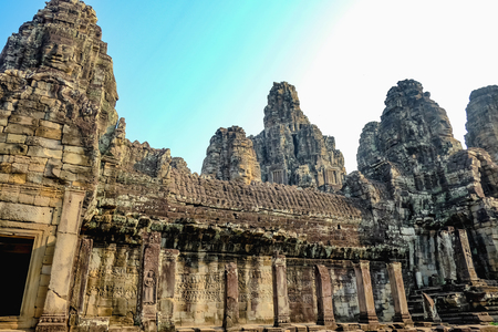 Ancient stone castle in Angkor wat Angkor Thom,wonder of the world