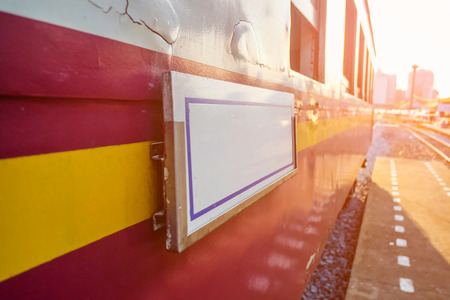 Close up Destination label on Retro train in the morning Stockfoto