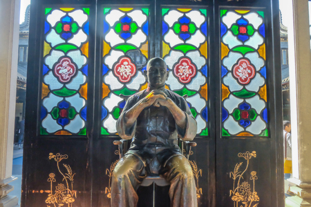 FoshanChina - 27 November 2015: Wong Fei-hung Statue in Wong Fei-hung Memorial Hall.Foshan city china Editorial