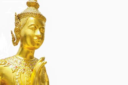 Golden Kinnari statue on isolated background