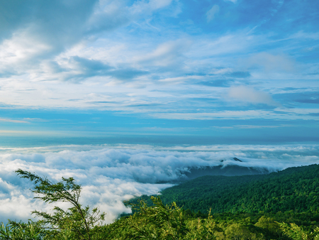 Beautiful Sky with Sea of the mist of fog in the morning on Khao Luang mountain in Ramkhamhaeng National Park,Sukhothai province Thailand Imagens