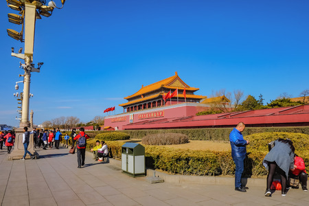 BeijingChina - 25 February 2017:Forbidden Palace with Unacquainted chinese people or touristin at beijing Capital City of china,Forbidden Palace was the former king palace in china