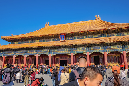 BeijingChina - 25 February 2017: Unacquainted chinese people or touristin come to visit Forbidden Palace in Holiday at beijing Capital City of china,Forbidden Palace was the former king palace in china Editorial