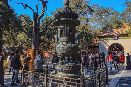 BeijingChina - 25 February 2017: Unacquainted chinese people or touristin come to visit Forbidden Palace in Holiday at beijing Capital City of china.