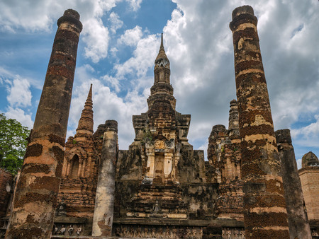 Wat mahathat Temple Area in sukhothai historical park Stock Photo